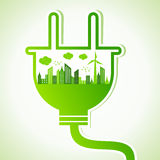 Ecology concept with electric plug. Vector illustration Royalty Free Stock Photo