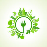 Ecology concept with electric plug Royalty Free Stock Photography