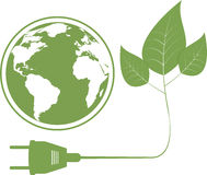 Ecology concept with electric plug. Vector illustration of ecology concept with electric plug, leaves and map of world of planet of Earth. Isolated on white Stock Photography