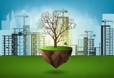 Ecology concept environment destruction by City Buildings Stock Photo