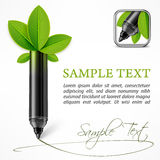 Ecology concept felt pen with leaves Stock Photography