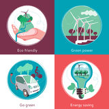 Ecology Concept 4 Flat Icons Banner Stock Photos