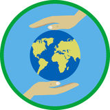 Ecology concept flat illustration with hands protecting  earth. Royalty Free Stock Photography