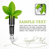 Ecology concept fountain pen with leaves Stock Photography