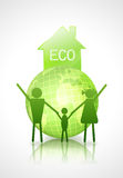 Ecology concept. globe and family Royalty Free Stock Photography
