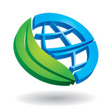 Ecology concept -  globe and leaf Stock Photo