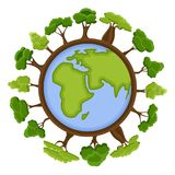 Ecology concept with green Eco Earth and trees. Cartoon earth planet globe with environment elements around. Eco. Friendly vector illustration Royalty Free Stock Photo