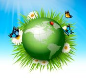 Ecology concept.Green Globe and Grass. With Flowers. Vector illustration Stock Photo