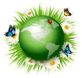 Ecology concept.Green Globe and Grass with Flowers. Vector illustration vector illustration