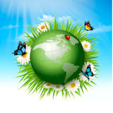Ecology concept.Green Globe and Grass with Flowers. Vector illustration Stock Photos