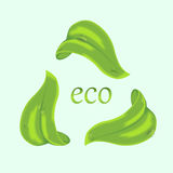 Ecology concept with Green leaves. Green Leaves with drops of water in the form of a triangular sign Stock Image