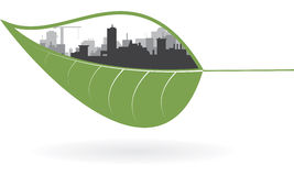 Ecology concept of green town. Vector illustration Royalty Free Stock Photos