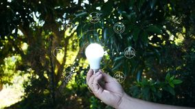 Ecology concept.Hand holding light bulb With icons energy sources for renewable surrounded . Ecology concept.Hand holding light bulb With icons energy sources stock video footage