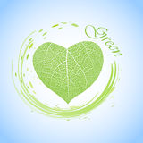 Ecology concept with heart of green leaf Stock Images