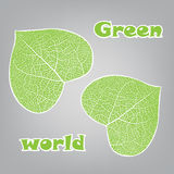 Ecology concept with heart of green leaf Stock Photography