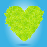 Ecology concept - heart from leaves Stock Photos