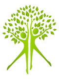 Ecology concept - human figures with green leaves Royalty Free Stock Image