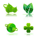 Ecology concept icon set. Ecology concept leaves, green, globe icon set Royalty Free Stock Images