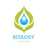 Ecology Concept Illustration - Abstract Vector Logo Sign Template. Leaves and drop illustration. Royalty Free Stock Photos