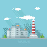 Ecology Concept - industry factory. Flat style vector illustrati Royalty Free Stock Photography