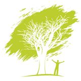 Ecology concept.Man under the tree. Royalty Free Stock Photos