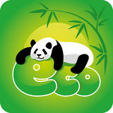 Ecology concept - panda. Panda, lying on the eco word vector illustration