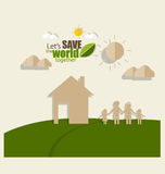 Ecology concept. Paper cut of family and tree on green backgroun Stock Image