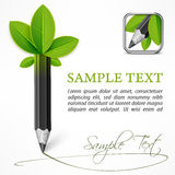 Ecology concept - pencil with leaves Stock Photography