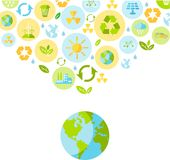 Ecology concept. Planet earth with nature icons in flat style Stock Photography