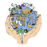 Ecology concept poster. Globe in hands. Symbol of caring about the environment. Vector illustration, isolated on white. Stock Photo