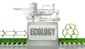 Ecology concept with recycle symbol and arrow. Signs Royalty Free Stock Photos