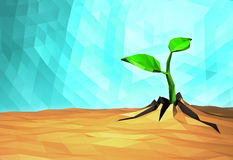 Ecology concept Rising sprout on dry ground, low poly Royalty Free Stock Photo