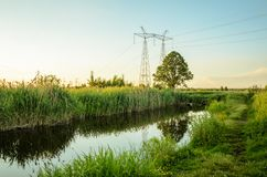 Ecology concept: sewage from the sewer pollutes a lake river/water gushing from the sewer to the river stock photography