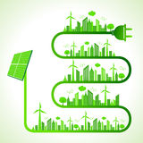 Ecology concept with solar panel - save nature. Illustration of ecology concept with solar panel - save nature Stock Photos