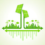 Ecology concept with solar panel Stock Photo