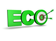 Ecology Concept Target. Ecology and environment concept with eco sign, target and two arrows on green centre. On white background Royalty Free Stock Photos