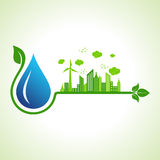 Ecology concept with water droplet stock illustration