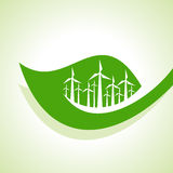 Ecology Concept - wind mill with leaf and electric plugEcology Concept - wind mill with leaf Stock Photography