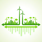 Ecology concept with wind mill Stock Photos