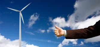 Ecology conception. Businessman holding thumb up Stock Image