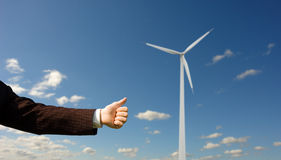 Ecology conception. Businessman holding thumb up Royalty Free Stock Images