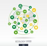 Ecology connection concept. Abstract background with integrated circles and icons for eco friendly, energy, environment. Green, recycle, bio and global stock illustration