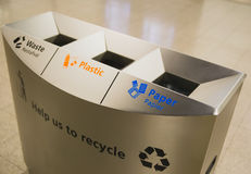 Ecology container recycling bins Stock Photos