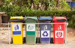 Ecology container recycling bins in the park. Stock Images