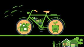 Ecology cycle with smart home and piggy bank in tyre