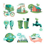 Ecology Decorative Icons Set. With earth industry solar panels clean water wind turbines garbage  vector illustration Royalty Free Stock Image