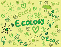Ecology doodle background Stock Photos