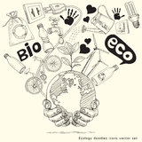 Ecology doodle tree on the earth in hands. royalty free illustration