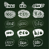 Ecology doodles icon set. On blackboard. Hand drown icons on white background Royalty Free Stock Photography