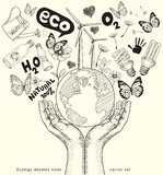 Ecology doodles icons drawing on paper. Royalty Free Stock Photography